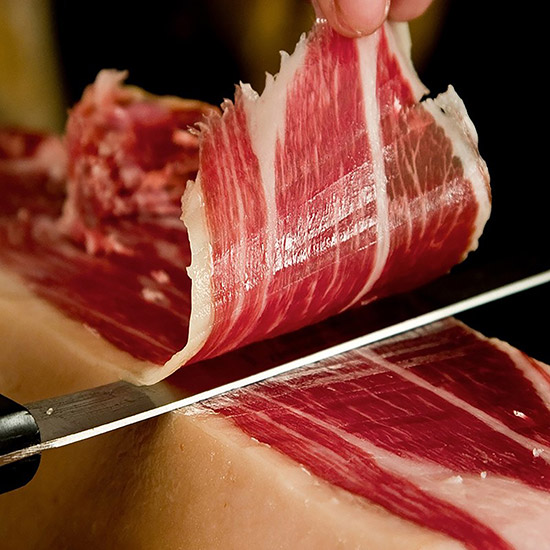Slicing Spanish jamón ibérico