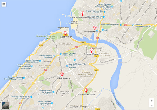 Tour (Map) of Rabat and Sale, Morocco • Approach Guides on