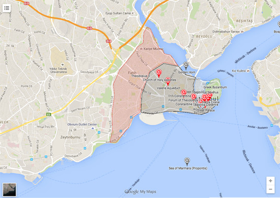 Map of Constantinople Ancient City in Istanbul, Turkey ...